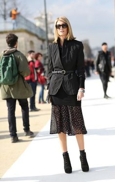 @roressclothes clothing ideas #women fashion black jacket, dress Trendy Street Style From Paris Fashion Week