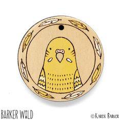 Yellow Budgie Pyrography bird pendant by Barker Wild at barkerwild.com (also on etsy). Copyright Karen Barker #BarkerWild