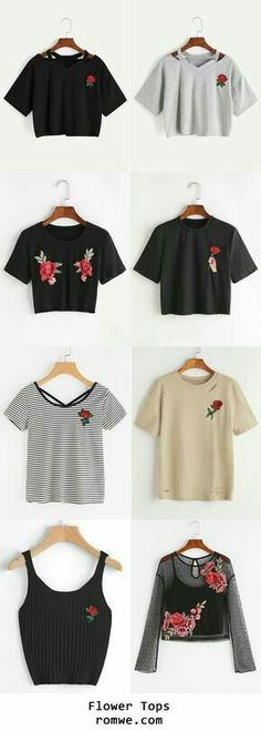 Tops with a red rose design🌹🌹🥀🥀 Teen Fashion, Korean Fashion, Fashion Outfits, Womens Fashion, Fashion Black, Cool Outfits, Casual Outfits, Summer Outfits, Winter Mode