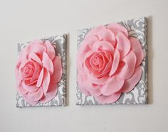 """TWO Wall Flowers -Light Pink Rose on Gray and White Damask 12 x12"""" Canvas Wall Art- Baby Nursery Wall Decor-"""