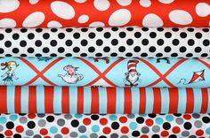 Love this for a boys quilt - Dr. Suess Cat in the Hat from the Fabric Shoppe