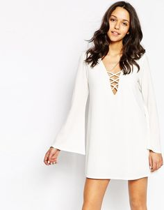 Pin for Later: The Cool Summer Trend You'll Want to Take Into Fall  Motel Swing Dress With Lace Up & Flare Sleeves ($76)