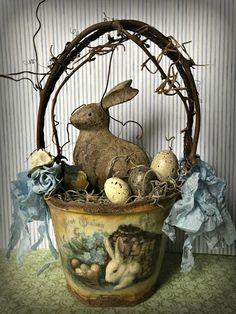 PETER COTTONTAIL~ Basket Peat Pot Basket Easter Decoration Altered