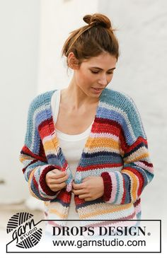 Knitted jacket with stripes in 2 strands DROPS Air. Piece is knitted bottom up with V-neck and vents in the sides. Sweater Knitting Patterns, Loom Knitting, Knit Patterns, Free Knitting, Drops Design, Pullover Design, Sweater Design, Knitted Jackets Women, Cardigans For Women