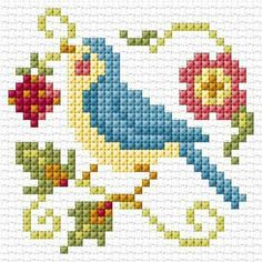 New Simple Bird Pattern Free Crochet 28 Ideas Small Cross Stitch, Cross Stitch Cards, Cross Stitch Borders, Cross Stitch Samplers, Cross Stitch Animals, Cross Stitch Designs, Cross Stitching, Cross Stitch Embroidery, Embroidery Patterns