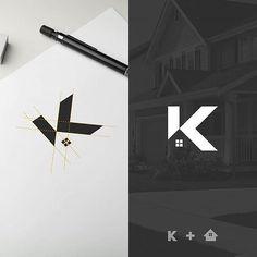 "Flat Logo Design on Instagram: ""K logo for real estate? Do you like it? 🏘 • Design by @ogi_latoh • Follow us for your logo design inspiration 😎 @flatlogodesign 👈 • Want to…"""