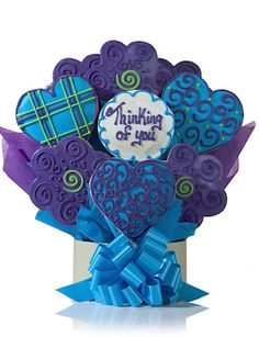 Blue-Hearted Sugar Cookies, from Gourmet Cookie BouquetsGREAT SITE TO CHECK OUT PRICING FOR BOUQUETS..