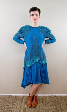 1980s Vintage Teal Silk Beaded Prom Dress / by RebelSupply on Etsy
