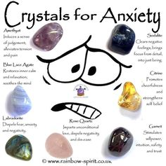 Crystal for anxiety Crystal Healing Chart, Crystal Guide, Crystal Magic, Healing Crystals, Crystal Altar, Healing Crystal Jewelry, Crystal Shop, Chakra Crystals, Crystals And Gemstones