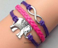 Elephants bracelet infinity bracelets by Individualitypresent, $3.99