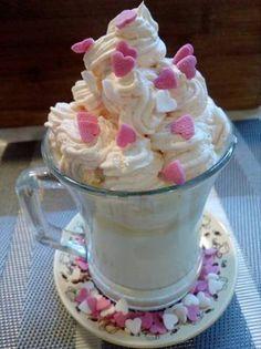 Fehér forrócsoki sütőtök-habbal Pudding, Drinks, Desserts, Food, Drinking, Tailgate Desserts, Beverages, Deserts, Custard Pudding