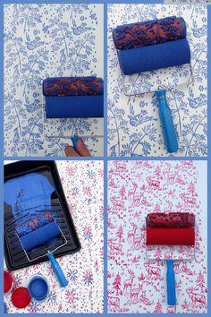 Patterned Paint Roller in Spring Bird Design and door NotWallpaper
