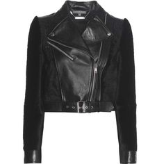 Alexander McQueen Leather and Shearling Jacket (14 995 PLN) ❤ liked on Polyvore featuring outerwear, jackets, coats & jackets, black, 100 leather jacket, alexander mcqueen, leather jackets, genuine leather jackets and real leather jackets