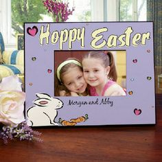 Personalize your Hoppy Easter Picture Frame! Easter frame is printed in a light pastel purple with a cute Easter bunny... #easter #frame #giftideas