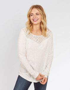 Whether it's a casual tee you're looking for or a pretty lace top, freshen up your wardrobe with the FatFace women's tops and t-shirts. Fat Face, Teen Wolf, Cloths, Ivory, Profile, Fire, Pullover, Clothes For Women, Tees