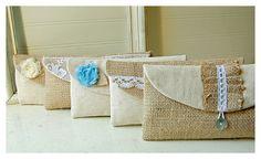 burlap bag clutch purse lace wedding set 3 rustic cotton linen tiffany blue Personalize rose Bridesmaid party Pouch gift MakeUp