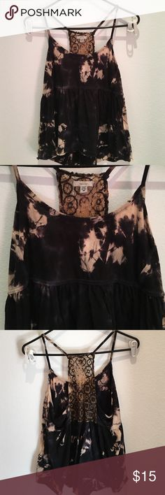 Black Tie Dye Tank Black tie dye tank with cute lace back detail on back. Size M. Bought at Urban Outfitters. Tops Tank Tops