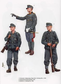 WEHRMACHT - 1 - Feldwebel, 138° Gebirgsjaeger Regiment, 3a Gebirgs Division, 1942 - 2 - General Oberst Eduard Dietl, 1943 - 3 - Gefreiter, 5a Gebirgs division, 1943