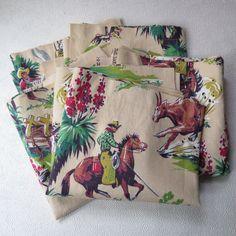 Barkcloth Cowboy Cowgirl Western Curtain Panels Valence Vintage Fabric  Horses Ranch Campfire Five