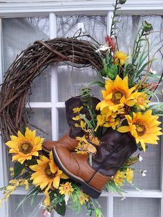 Cowboy Boot and Sunflower Wreath, Simple Spring Summer Country Charm