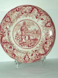 STAFFORDSHIRE-PINK-RED-WHITE-TRANSFER-PLATE-WOMEN-URN-CHURCH-BOAT-9-LATE-1800
