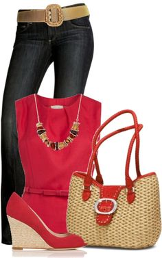 Red top with dark denim jeans...Love!!!