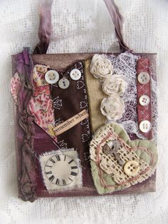 Handmade Fiber Collage Original Mixed Media Collage Vintage  Crazy Quilt Collage Shabby Chic Decor Vintage Quilt   Fabric Collage
