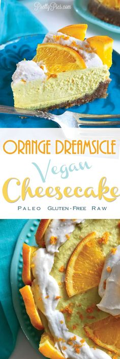 What dreams are made of!! Dairy-free orange cheesecake!! Made from whole foods. (No gluten/grains, eggs, or refined sugar.) #vegan #paleo #prettypies