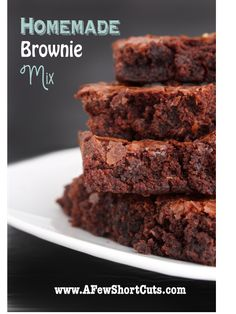 Never buy boxed brownie mix again - can make it gluten free too! So simple, so easy. Not just frugal but cuts out the unknown ingredients. Brownie Mix $0.30 /mix. 1 Cup Sugar, 1/2 Cup Flour, 1/3 Cup Cocoa, 1/4 tsp Salt, 1/4 tsp Baking Powder. Add: 2 Eggs, 1/2 Cup Vegetable Oil, 1 teaspoon Vanilla. Bake @ 350 degrees for 20-25 minutes.