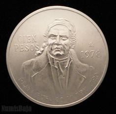 100 pesos de plata Morelos México 1978