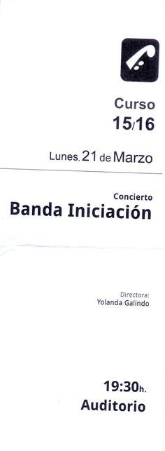 Concierto Banda Iniciación, día 21 de marzo de 2016. Conservatorio Profesional de Música de Oviedo.