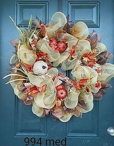 Autumn fall Deco Mesh  Wreath orange brown gold #994