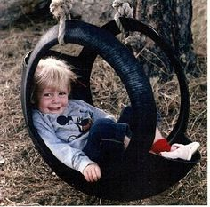 I grew up with this kind of tire swing, and my kids go to Grandma and PaPa's and still love it! Tire Art, Tire Swings, Diy Tire Swing, Tyres Recycle, Reuse Recycle, Used Tires, Kids Play Area, Backyard For Kids, Outdoor Play