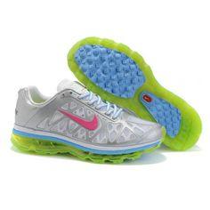 64d0a7ecf17e New Style Air Max 2011 Matte Silver Fluorescent Green-Solar Red-White-University  Blue Women Nike has my heart!
