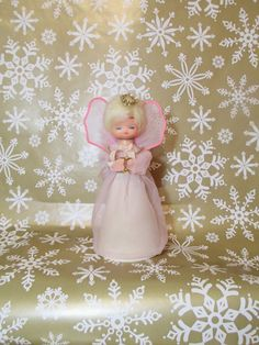 Vintage Angel Christmas Tree Topper Pink by LuckyPennyTrading