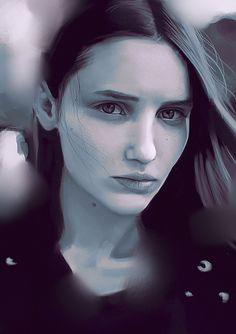 """Value study"" - Carlos Alberto {figurative art beautiful female head young woman face portrait monochrome digital painting #loveart}"