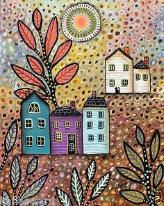 Repose 8x10 CANVAS PAINTING FOLK ART Houses Cat Abstract ORIGINAL Karla Gerard  Brand new painting, now available for sale..