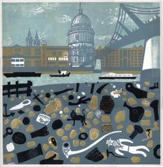 View of St Pauls from the Thames Foreshore linocut by Melvyn Evans Mudlarking Thames, New Print, Print Print, London Art, Linocut Prints, Travel Posters, Contemporary Artists, Illustrations Posters, Printmaking