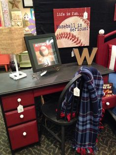 An Adorable Desk To Match The Baseball Bed!