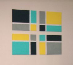 Easy Wall Art. Tape off sections on a canvas and paint. Lots of design and pattern possibilities