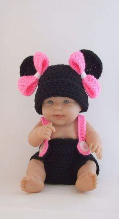 Minnie Mouse Inspired Diaper Cover & Hat Set with Suspenders - Newborn - 3 Months. $39.50, via Etsy.