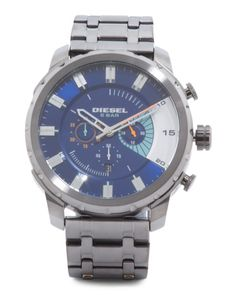 Men's+Stronghold+Chronograph+Bracelet+Watch+With+Blue+Face