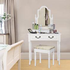 SEA145 Machiajul perfect, la tine acasă http://www.emobili.ro/cumpara/sea145-set-masa-alba-toaleta-cosmetica-machiaj-oglinda-masuta-vanity-764 #eMobili