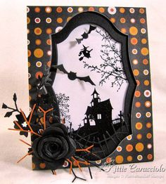 "Hollow and Black Rose par - Cartes et artisanat en papier à Splitcoast . Spooky Hollow and Black Rose par - Cartes et artisanat en papier à Splitcoast . ""dragons & Roses"" Wrought-iron Mirror - France, Early Famous Last Words Made to Order Halloween Paper Crafts, Halloween Tags, Halloween Projects, Holidays Halloween, Halloween Scene, Halloween Pictures, Halloween Ideas, Happy Halloween, Fall Cards"