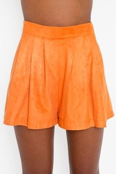 Cameo orange faux suede shorts