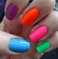 each nail a different neon nail