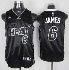 Miami Heat 6 LeBron James black white name jersey