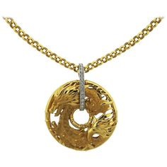 Large Carrera Y Carrera Diamond Gold Dragon Pendant Necklace