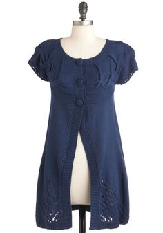 Give It a Purl Cardigan - Blue, Solid, Buttons, Knitted, Ruffles, Short Sleeves, Long, Casual