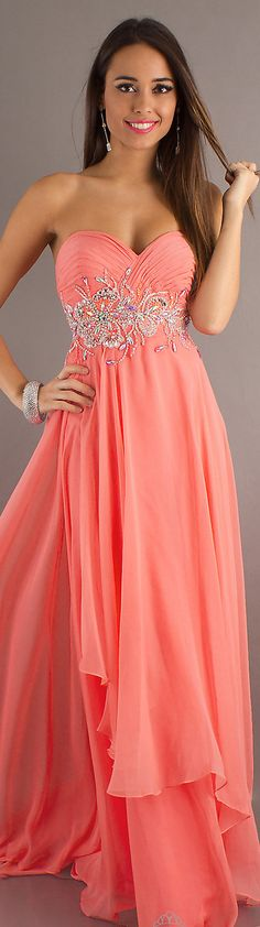 Formal long dress #coral #strapless